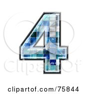 Royalty Free RF Clipart Illustration Of A Blue Tile Symbol Number 4 by chrisroll