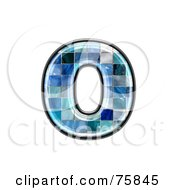 Royalty Free RF Clipart Illustration Of A Blue Tile Symbol Lowercase Letter O by chrisroll