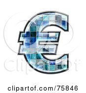 Royalty Free RF Clipart Illustration Of A Blue Tile Symbol Euro
