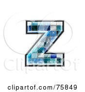 Royalty Free RF Clipart Illustration Of A Blue Tile Symbol Lowercase Letter Z by chrisroll