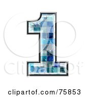 Royalty Free RF Clipart Illustration Of A Blue Tile Symbol Number 1