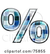 Royalty Free RF Clipart Illustration Of A Blue Tile Symbol Percent by chrisroll
