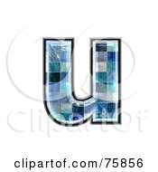 Royalty Free RF Clipart Illustration Of A Blue Tile Symbol Lowercase Letter U by chrisroll