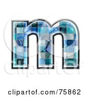 Royalty Free RF Clipart Illustration Of A Blue Tile Symbol Lowercase Letter M by chrisroll