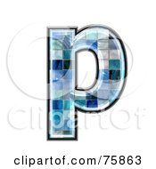Royalty Free RF Clipart Illustration Of A Blue Tile Symbol Lowercase Letter P
