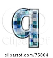 Royalty Free RF Clipart Illustration Of A Blue Tile Symbol Lowercase Letter Q by chrisroll