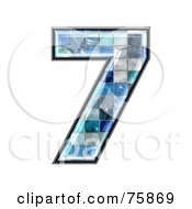 Royalty Free RF Clipart Illustration Of A Blue Tile Symbol Number 7 by chrisroll
