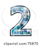 Royalty Free RF Clipart Illustration Of A Blue Tile Symbol Number 2 by chrisroll