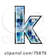 Royalty Free RF Clipart Illustration Of A Blue Tile Symbol Lowercase Letter K