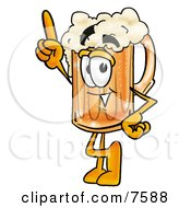 Clipart Picture Of A Beer Mug Mascot Cartoon Character Pointing Upwards