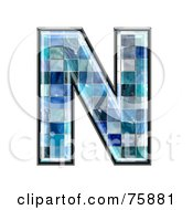Royalty Free RF Clipart Illustration Of A Blue Tile Symbol Capital Letter N