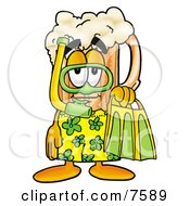Clipart Picture Of A Beer Mug Mascot Cartoon Character In Green And Yellow Snorkel Gear