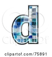 Royalty Free RF Clipart Illustration Of A Blue Tile Symbol Lowercase Letter D