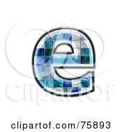 Royalty Free RF Clipart Illustration Of A Blue Tile Symbol Lowercase Letter E