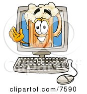 Clipart Picture Of A Beer Mug Mascot Cartoon Character Waving From Inside A Computer Screen