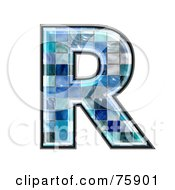 Blue Tile Symbol Capital Letter R