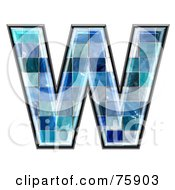 Blue Tile Symbol Capital Letter W