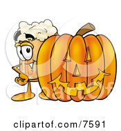 Clipart Picture Of A Beer Mug Mascot Cartoon Character With A Carved Halloween Pumpkin