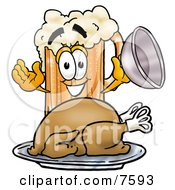 Clipart Picture Of A Beer Mug Mascot Cartoon Character Serving A Thanksgiving Turkey On A Platter by Toons4Biz