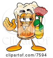 Clipart Picture Of A Beer Mug Mascot Cartoon Character Holding A Red Rose On Valentines Day