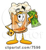 Clipart Picture Of A Beer Mug Mascot Cartoon Character Holding A Dollar Bill