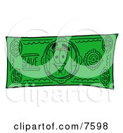 Clipart Picture Of A Beer Mug Mascot Cartoon Character On A Dollar Bill