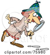 Royalty Free RF Clipart Illustration Of A Female Dectective Following A Line Of Footprints And Using A Magnifying Glass by toonaday #COLLC75980-0008