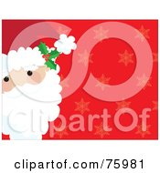 Royalty Free RF Clipart Illustration Of Santas Face On The Side Of A Red Background With Faint Snowflakes