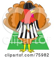 Royalty Free RF Clipart Illustration Of A Turkey Bird Football Referee Signaling A Touch Down On A Field by Maria Bell