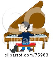 Royalty Free RF Clipart Illustration Of A Little Dog Howling And Wagging His Tail While A Man Sings And Plays A Piano