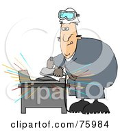 Royalty Free RF Clipart Illustration Of A Man Going Cross Eyed While Operating An Angle Grinder To Grind Metal
