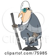 Royalty Free RF Clipart Illustration Of An Industrial Worker Man Carrying A Piece Of Metal And An Angle Grinder