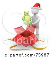 Royalty Free RF Clipart Illustration Of A White Person Wearing A Santa Hat And Holding A Teddy Bear Over A Christmas Gift Box by 3poD