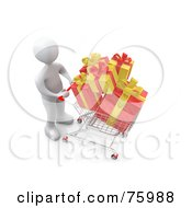 Royalty Free RF Clipart Illustration Of A White Person Pushing A Shopping Cart With Yellow And Red Christmas Gifts by 3poD