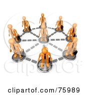 Royalty Free RF Clipart Illustration Of Orange Business Men With Briefcases Standing In A Network Circle
