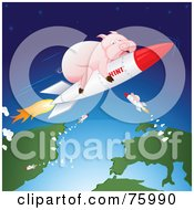 Royalty Free RF Clipart Illustration Of Pink Pigs Shooting Through Space On H1N1 Rockets