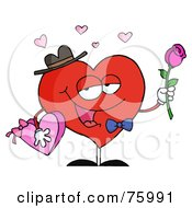 Royalty Free RF Clipart Illustration Of A Gentleman Heart Carrying Chocolates And A Rose