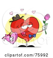 Sweet Man Heart Carrying Chocolates And A Rose