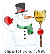 Royalty Free RF Clipart Illustration Of A Joyous Snowman Holding A Broom And Waving