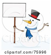 Royalty Free RF Clipart Illustration Of A Joyous Snowman Holding A Blank Sign On A Hill