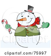 Royalty Free RF Clipart Illustration Of A Joyous Snowman Holding A Candy Cane