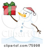Royalty Free RF Clipart Illustration Of A Jolly Snowman Holding A Christmas Present