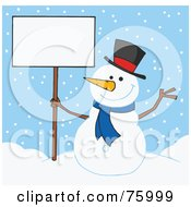 Royalty Free RF Clipart Illustration Of A Jolly Snowman Holding A Blank Sign In The Snow