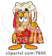 Clipart Picture Of A Beer Mug Mascot Cartoon Character In Orange And Red Snorkel Gear