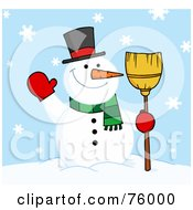 Royalty Free RF Clipart Illustration Of A Friendly Snowman Holding A Broom And Waving In The Snow