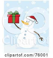 Royalty Free RF Clipart Illustration Of A Joyous Snowman Holding A Christmas Present In The Snow by Hit Toon