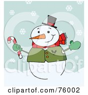 Royalty Free RF Clipart Illustration Of A Jolly Snowman Holding A Candy Cane In The Snow by Hit Toon