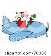 Royalty Free RF Clipart Illustration Of A Waving Kris Kringle Flying His Christmas Plane