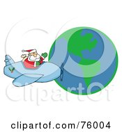Royalty Free RF Clipart Illustration Of A Waving Father Christmas Flying His Plane Around The Globe