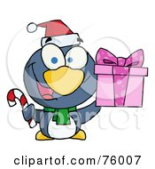 Thoughtful Christmas Penguin Holding A Present And Candy Cane